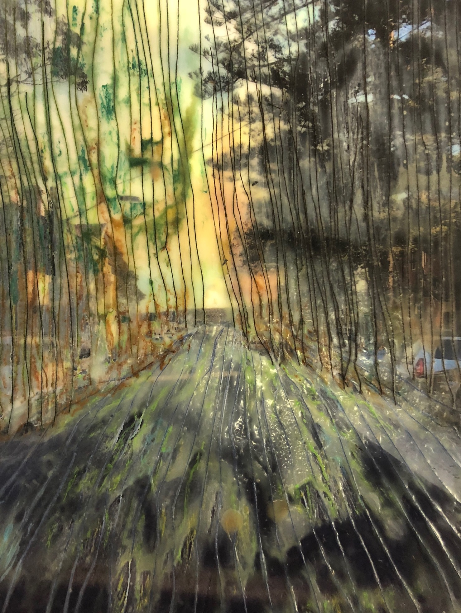photographic transparency, thread, oil pastel, encaustic, glass