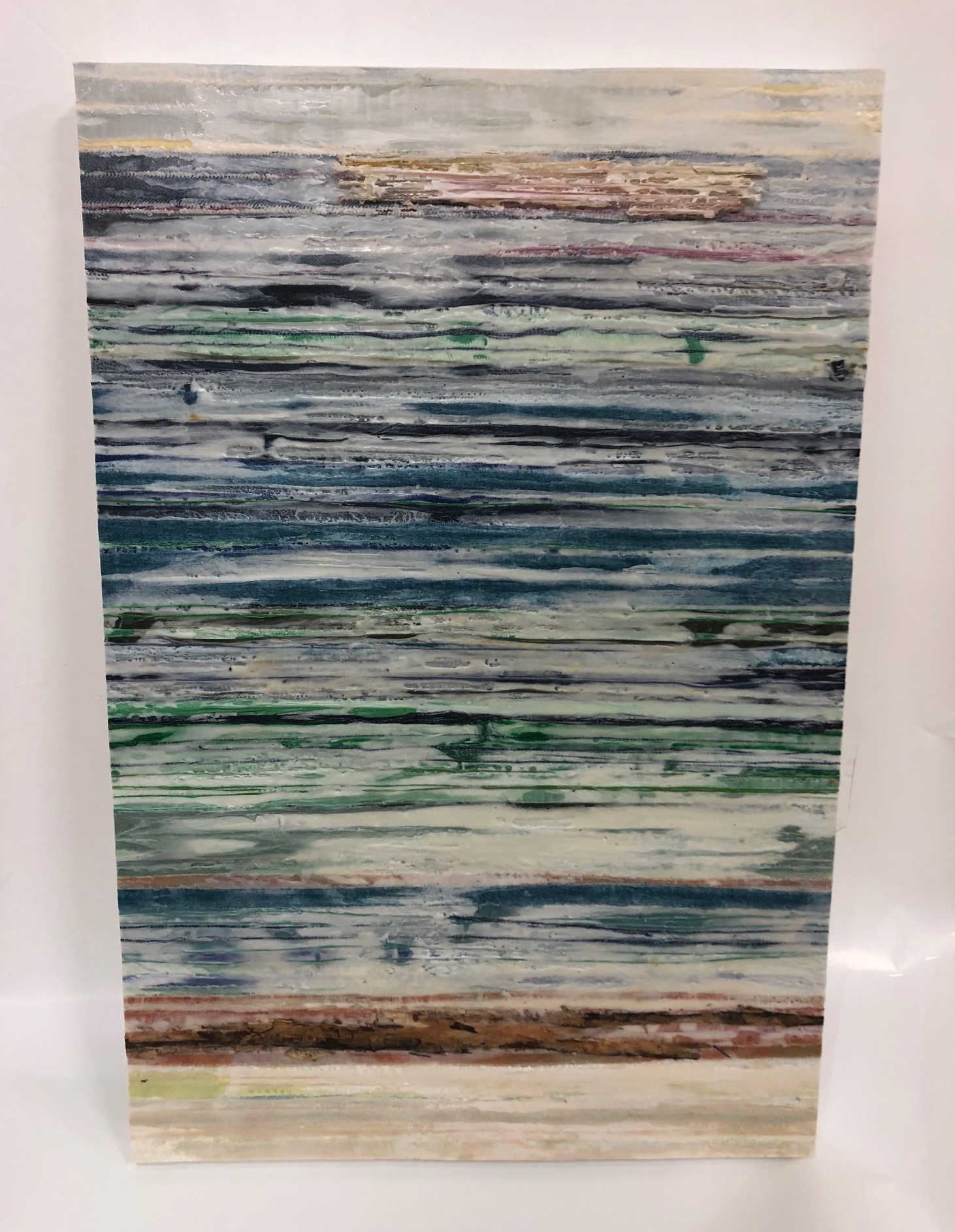 mixed media encaustic wallwork glass