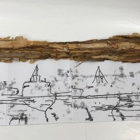 printmakers ink, hand drawn, paperbark, paper